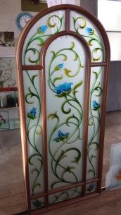 vetro per porta interna decorato e satinato