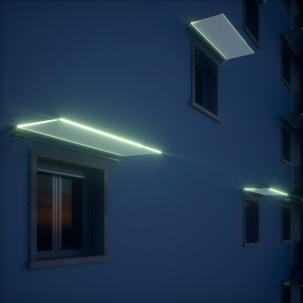 inserimento del LED in una pensilina in vetro a sbalzo