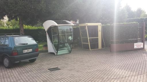 vetro rotto di cabine di gru
