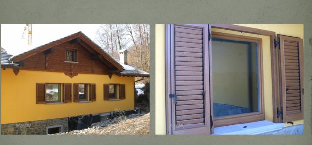 persiana in alluminio a telaio su vecchia casa ristrutturata