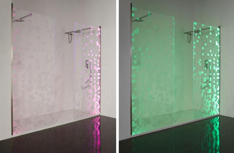 box doccia decorato con il LED