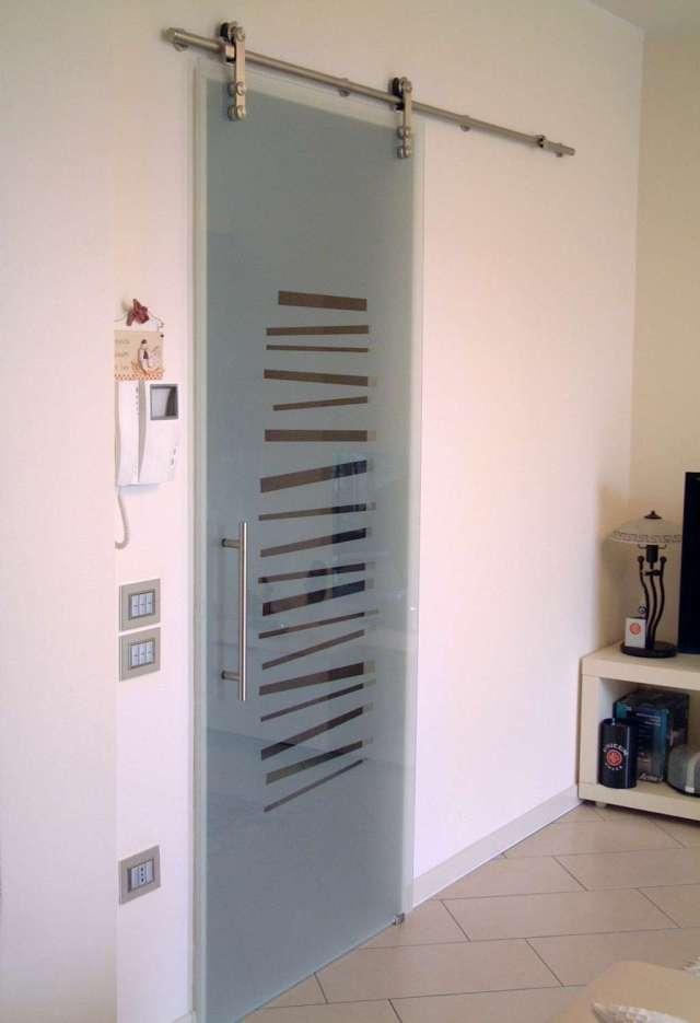 Porta Scorrevole Con Binario Esterno - Interno Di Casa - Smepool.com