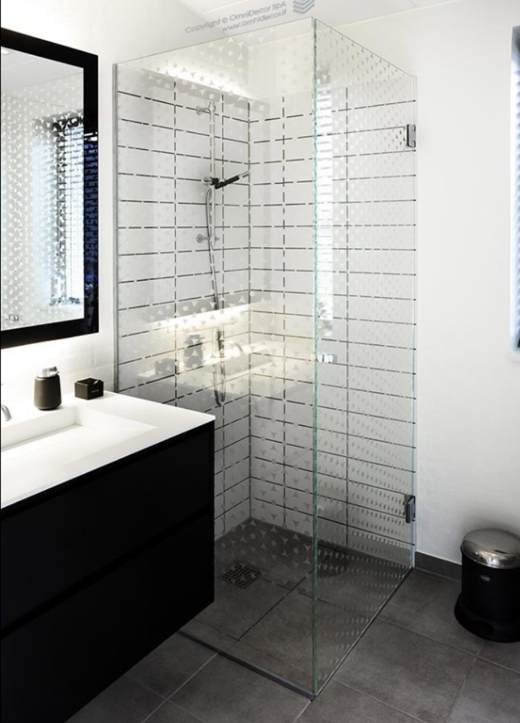 Decorazione satinata dei vetri della doccia.