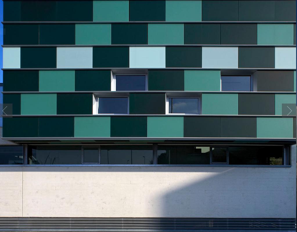 vetro colorato per facciata
