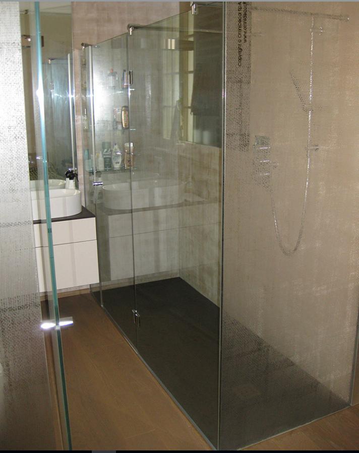 vetro satinato temperato per cabina doccia
