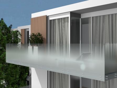 vetro per parapetto satinato a nuvola
