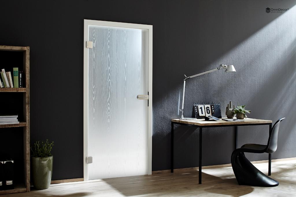 porta in vetro satinato venatura legno