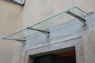 pensilina in acciaio e vetro artigianale
