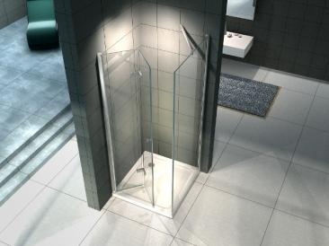 cabina doccia in vetro pieghevole con fissetto laterale
