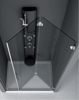 cabina doccia in vetro in nicchia con apertura a libro