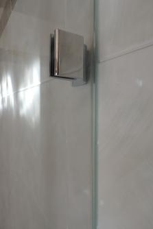 morsetto per box doccia in vetro posa a filo muro