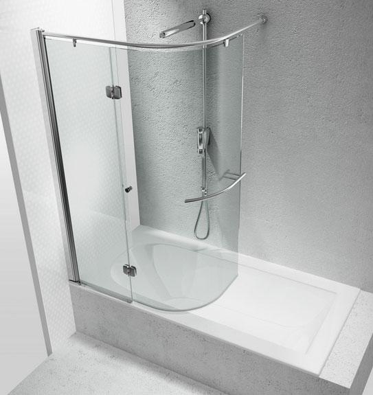 Box in vetro curvo sopra la vasca vetraria gelfi bergamo for Box doccia ikea prezzi