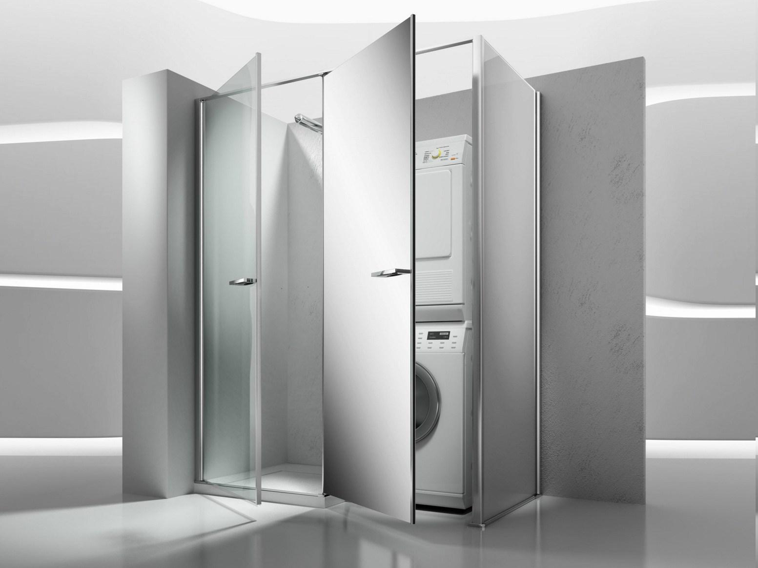 ripostiglio in vetro per la lavatrice e l'asciugatrice