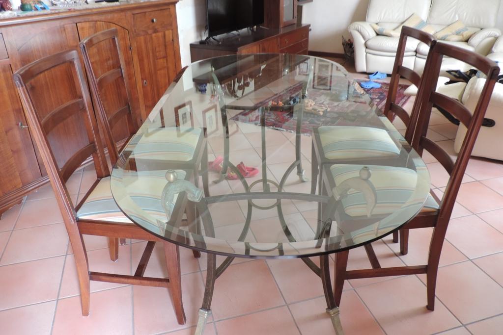 tavolo in vetro bisellato e molato per arredamento antico