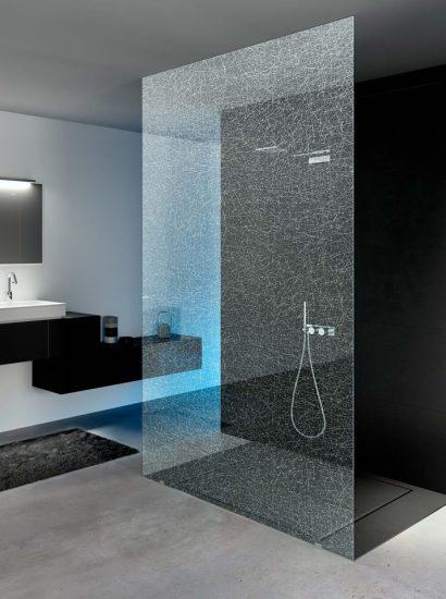 vetro satinato per box doccia con un solo vetro fisso