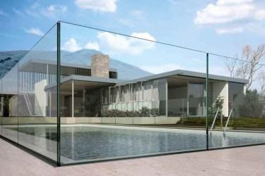 ringhiera in vetro per protezione piscina