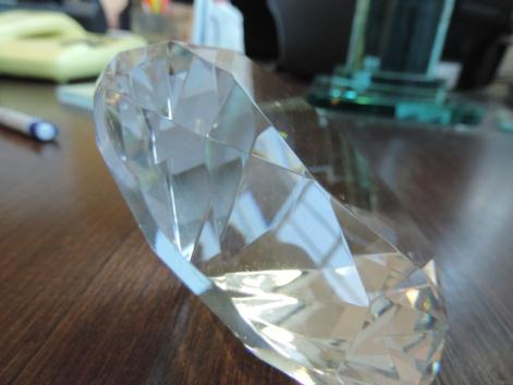 diamante di vetro di cm di diametro