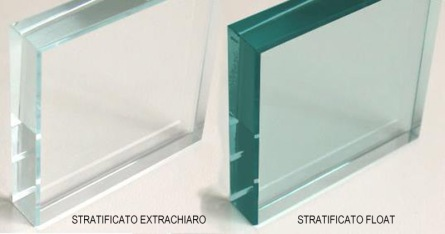 vetro extrachiaro confrontato con un vetro normale
