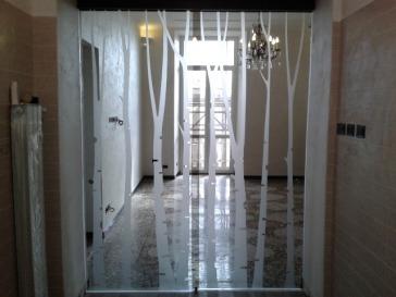 porta in vetro temperato decorata e satinata