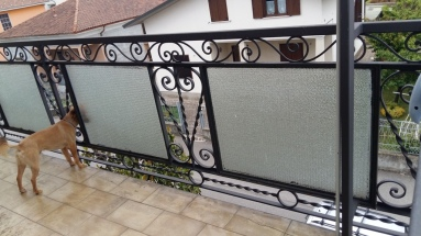 balcone  con ringhiera in ferro e e inserti in vetro retinato