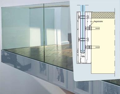 sistema di posa frontale con profilo dei balconi in vetro