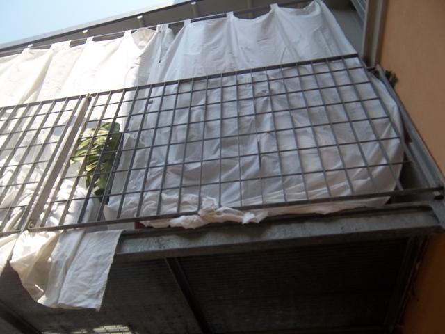 ringhiera in ferro zincato con teli di protezione