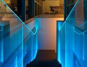 parapetto scale in vetro al LED